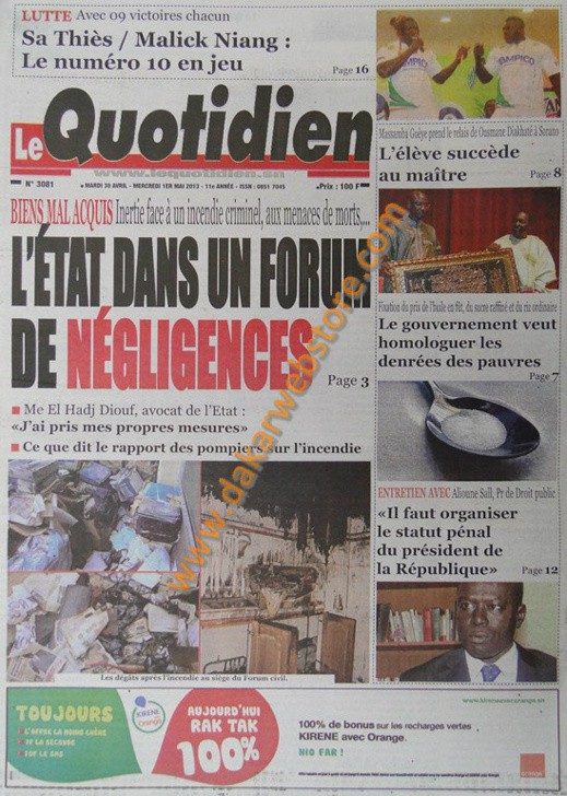 A la Une du Journal Le Quotidien du mardi 30 Avril 2013
