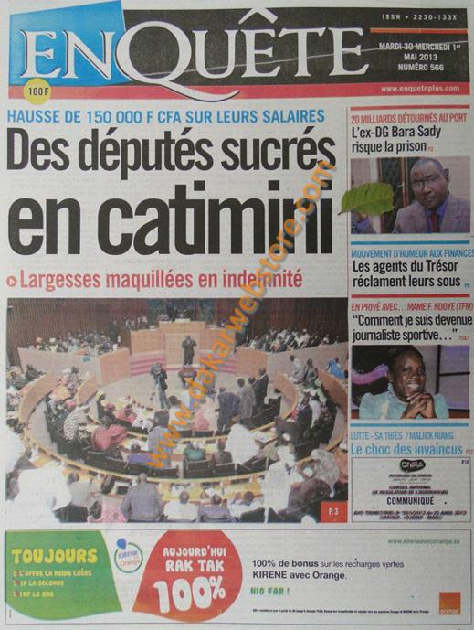 A la Une du Journal EnQuête du mardi 30 Avril 2013