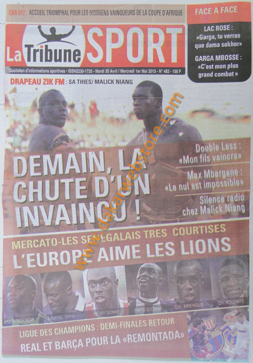 A la Une du Journal La Tribune Sport du mardi 30 Avril 2013