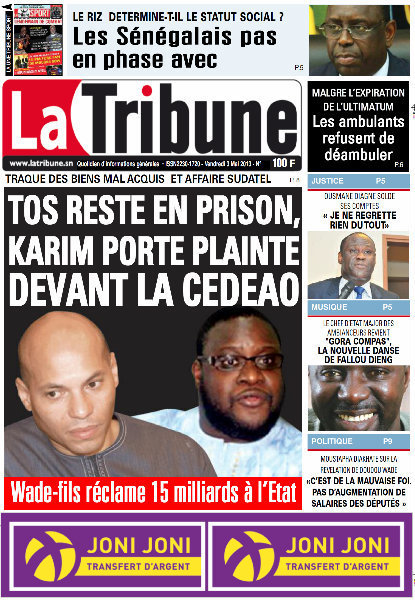 A la Une du Journal La Tribune du vendredi 03 Mai 2013
