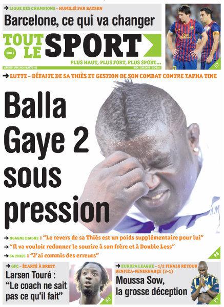 A la Une du Journal Tout Le Sport du vendredi 03 Mai 2013