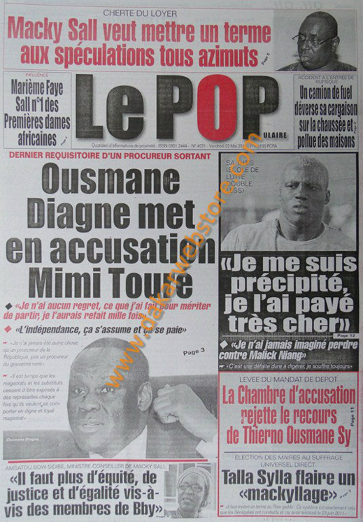 A la Une du Journal Le Populaire du vendredi 03 Mai 2013