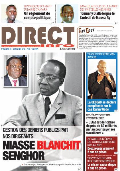 A la Une du Journal Direct Info du Samedi 04 Mai 2013