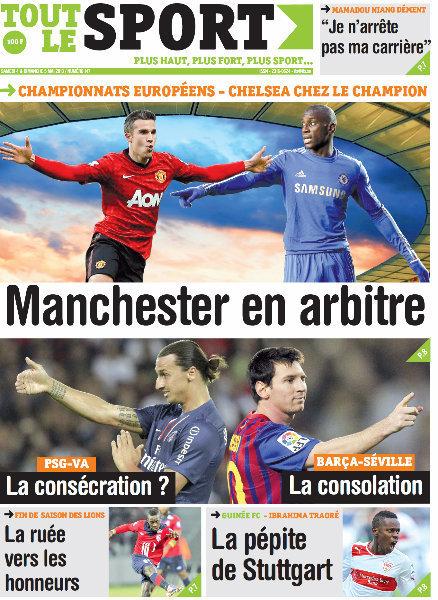 A la Une du Journal Tout Le Sport du Samedi 04 Mai 2013