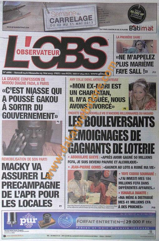 A la Une du Journal L'Observateur du Samedi 04 Mai 2013