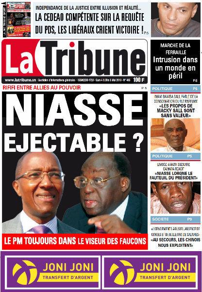 A la Une du Journal La Tribune du Samedi 04 Mai 2013