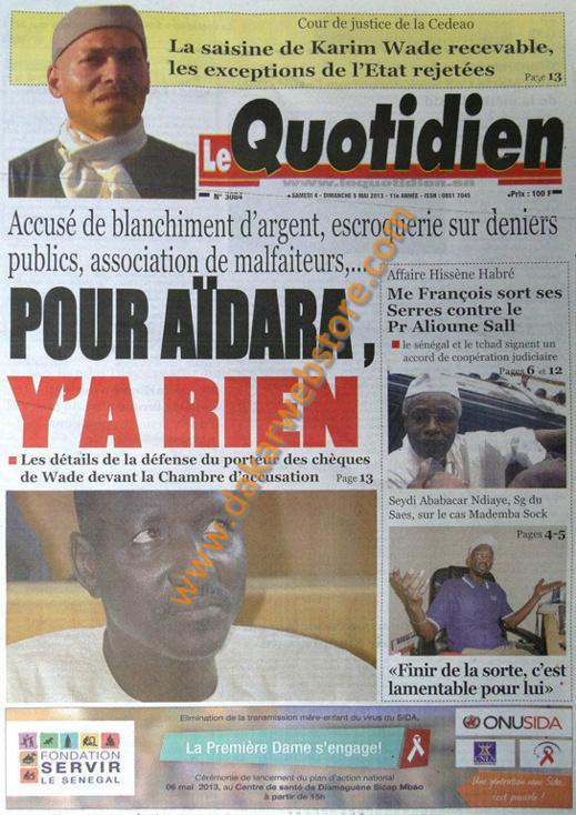 A la Une du Journal Le Quotidien du Samedi 04 Mai 2013