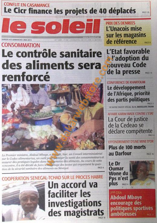 A la Une du Journal Le Soleil du Samedi 04 Mai 2013