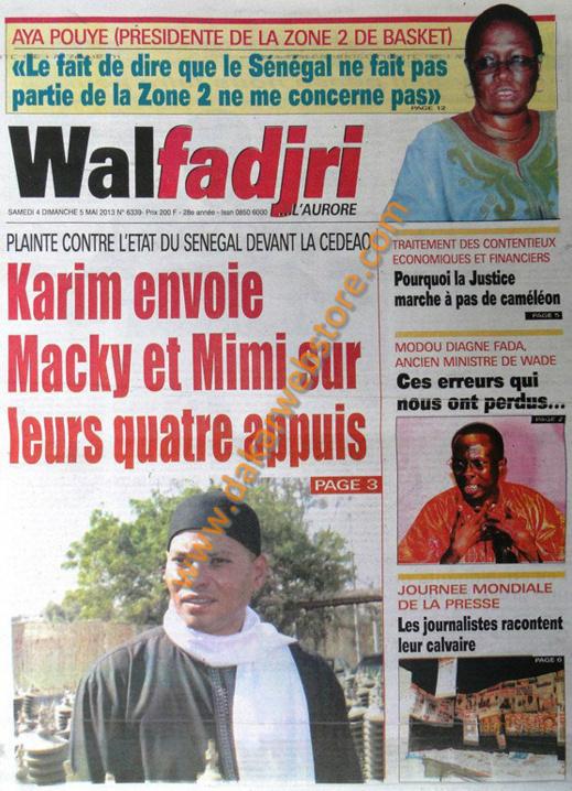 A la Une du Journal Walfadjri du Samedi 04 Mai 2013