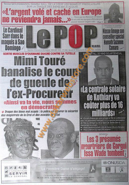 A la Une du Journal Le Populaire du Samedi 04 Mai 2013