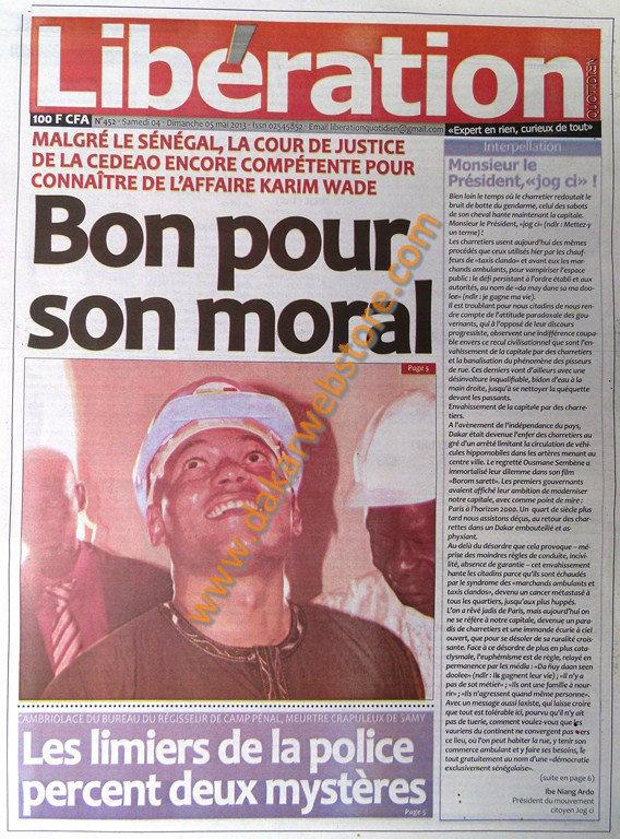 A la Une du Journal Libération du Samedi 04 Mai 2013