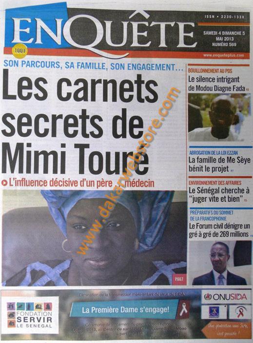 A la Une du Journal EnQuête du Samedi 04 Mai 2013