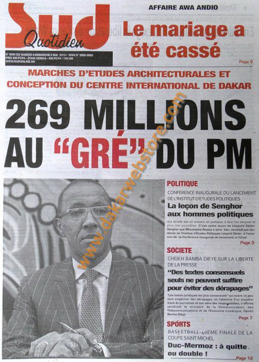 A la Une du Journal Sud Quotidien du Samedi 04 Mai 2013