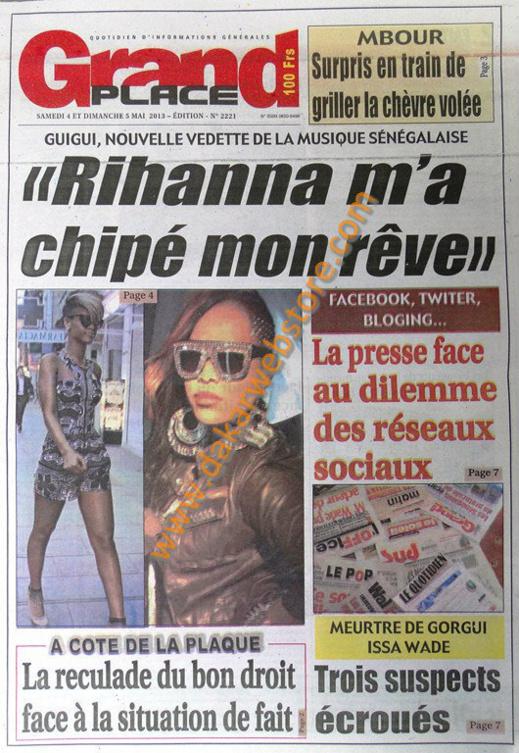 A la Une du Journal Grand Place du Samedi 04 Mai 2013