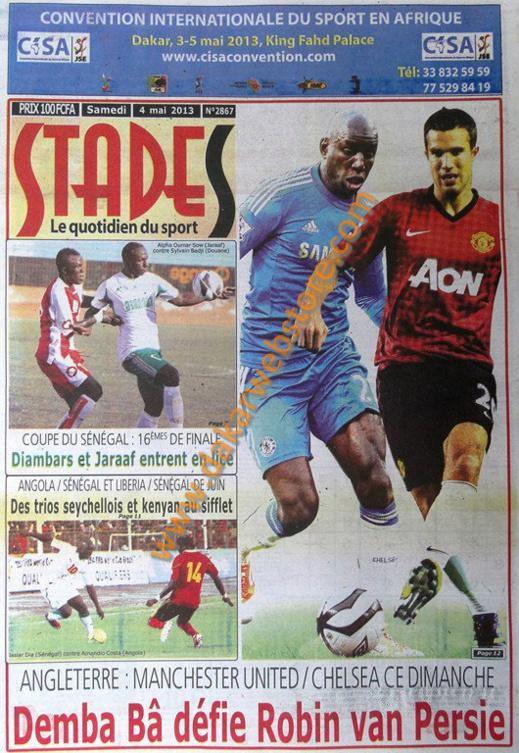 A la Une du Journal Stades du Samedi 04 Mai 2013