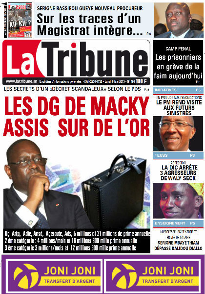 A la Une du Journal La Tribune du lundi 06 Mai 2013