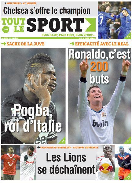 A la Une du Journal Tout Le Sport du lundi 06 Mai 2013