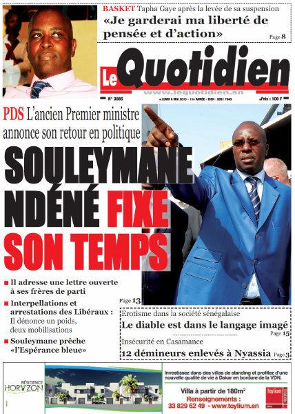 A la Une du Journal Le Quotidien du lundi 06 Mai 2013