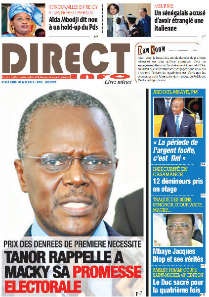 A la Une du Journal Direct Info du lundi 06 Mai 2013