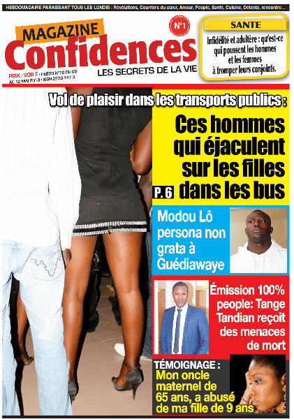 A la Une du Journal Confidences du lundi 06 Mai 2013