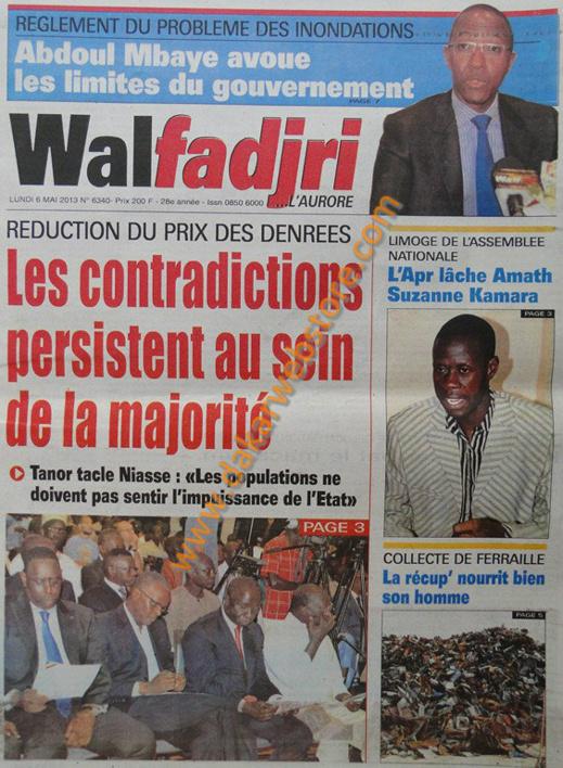 A la Une du journal Walfadjri du lundi 06 Mai 2013