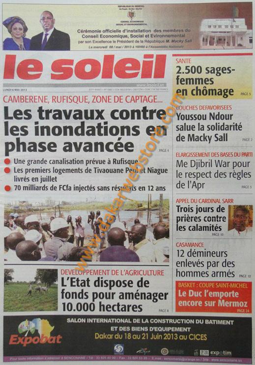 A la Une du journal Le Soleil du lundi 06 Mai 2013