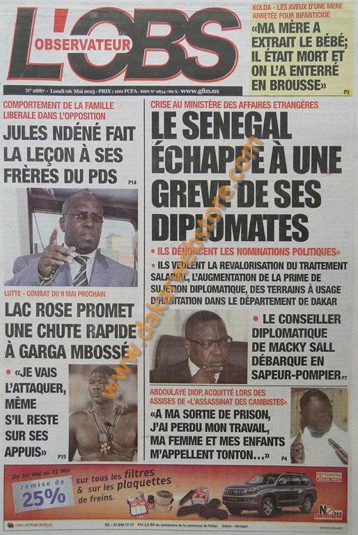 A la Une du journal L'Observateur du lundi 06 Mai 2013