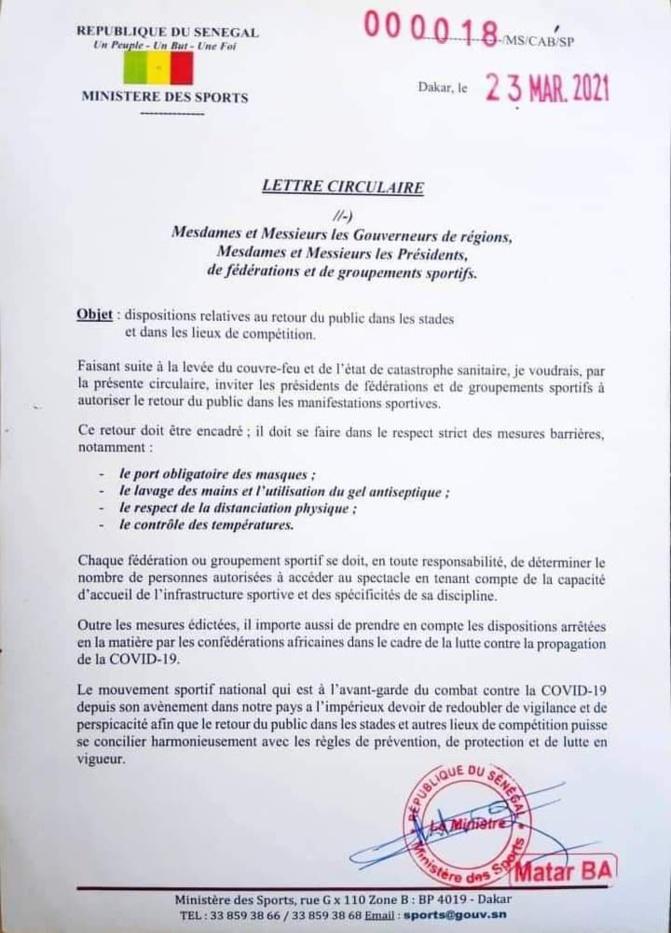 Entrer dans les stades pour suivre les compétitions: Le public sénégalais autorisé