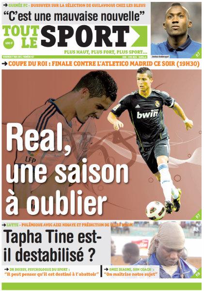 A la Une du Journal Tout Le Sport du vendredi 24 Avril 2013