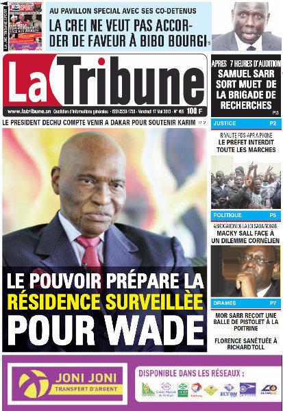 A la Une du Journal La Tribune du vendredi 17 mai 2013