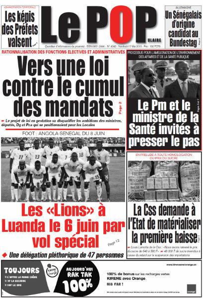 A la Une du Journal Le Populaire du vendredi 17 mai 2013
