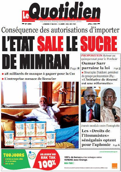 A la Une du Journal Le Quotidien du vendredi 24 Avril 2013