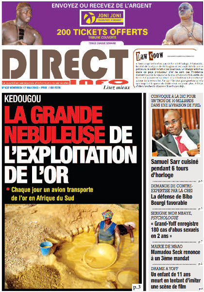 A la Une du Journal Direct Info du vendredi 17 mai 2013