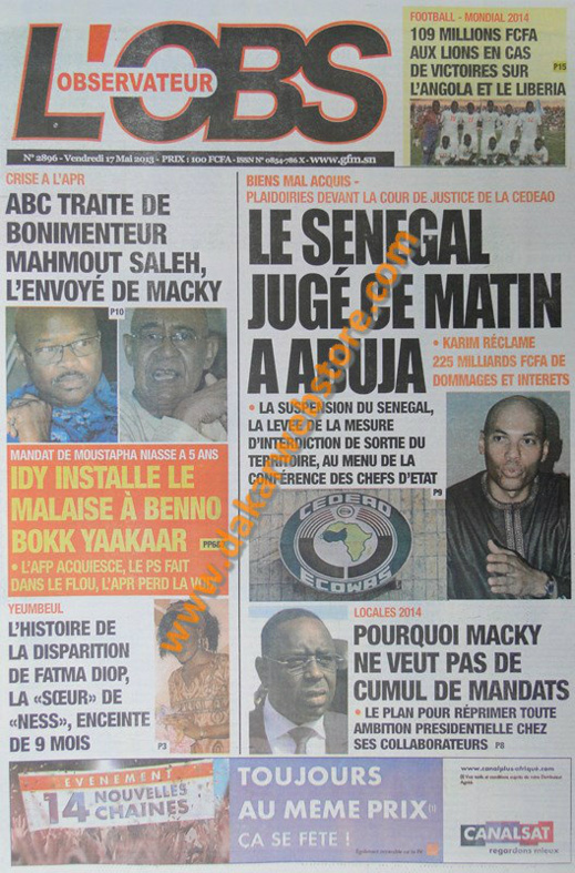 A la Une du Journal L'Observateur du vendredi 17 mai 2013