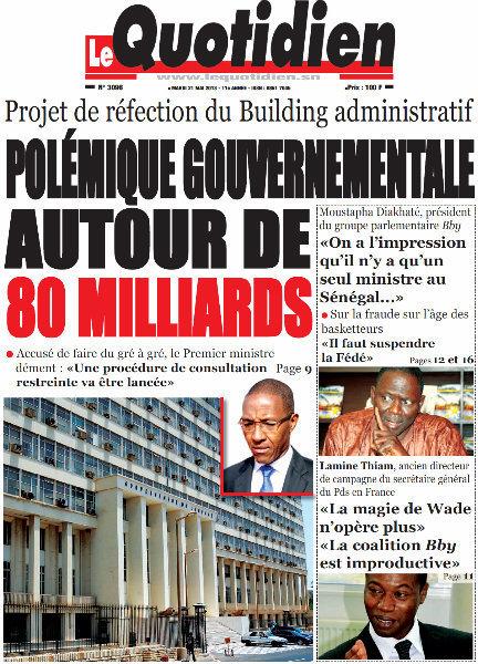 A la Une du Journal Le Quotidien du mardi 21 mai 2013