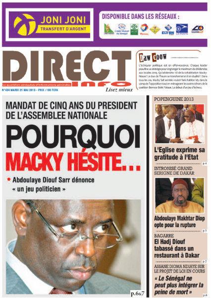 A la Une du Journal Direct Info du mardi 21 mai 2013