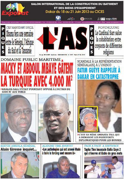 A la Une du Journal L'As du mardi 21 mai 2013