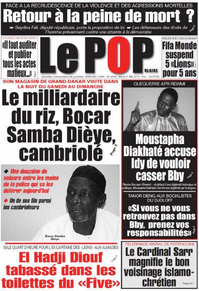 A la Une du Journal Le Populaire du mardi 21 mai 2013