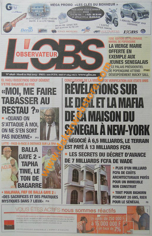 A la Une du Journal L'Observateur du mardi 21 mai 2013