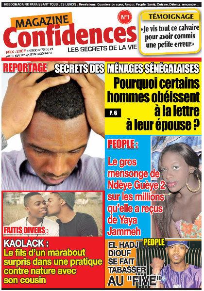 A la Une du Journal Confidences du mardi 21 mai 2013