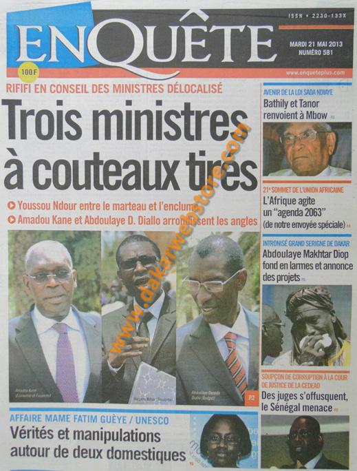A la Une du Journal EnQuête du mardi 21 mai 2013