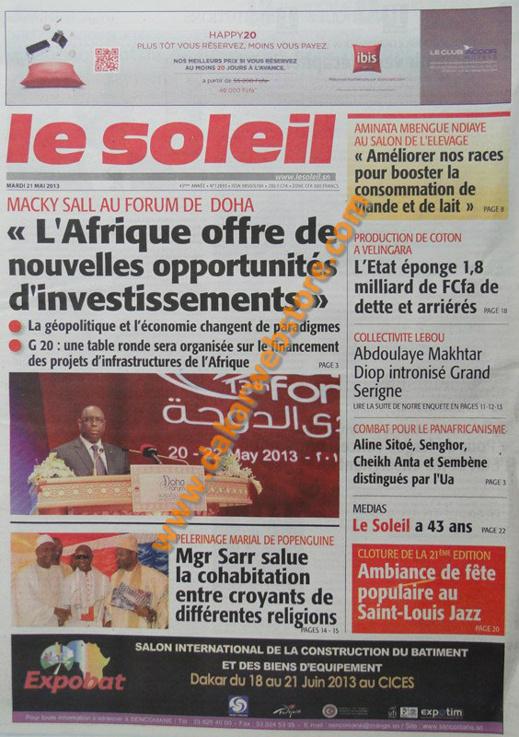 A la Une du Journal Le Soleil du mardi 21 mai 2013