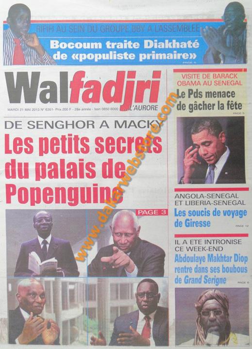 A la Une du Journal Walfadjri du mardi 21 mai 2013