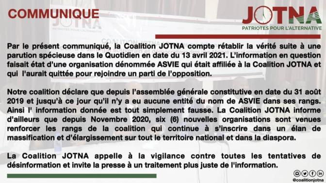 Fake News: La Coalition Jotna dément avoir dans ses rangs, une organisation dénommée ASVIE