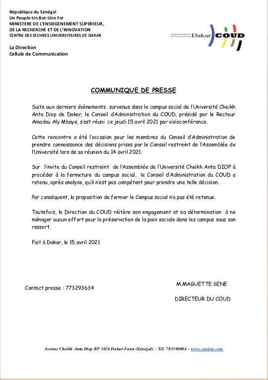 Réunion du Conseil d'administration de l'Ucad: La proposition de fermer le campus social, rejetée