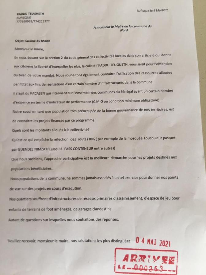 Le collectif Kaddu Teungueth interpelle le maire de Rufisque Nord sur sa gestion et demande des explications sur l'utilisation des fonds du Pacasen…