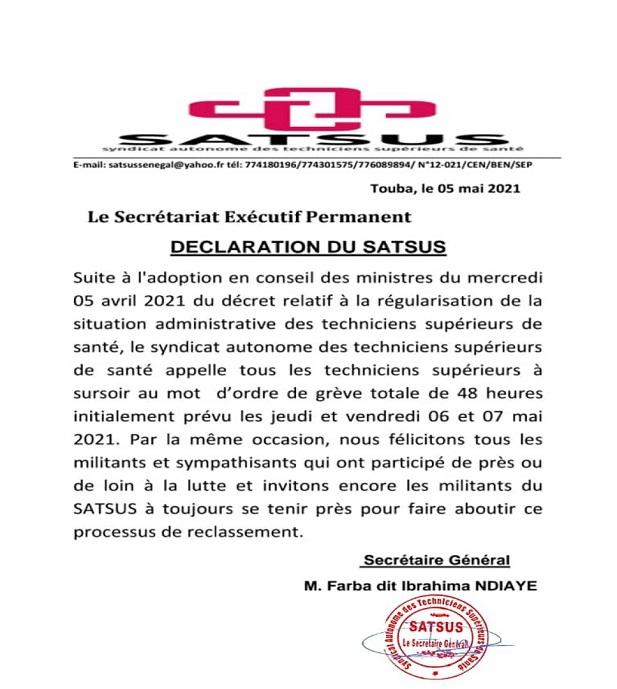 Urgent / Santé: Le SATSUS lève son mot d'ordre grève totale prévue ce jeudi 6 et vendredi 7 Mai  2021