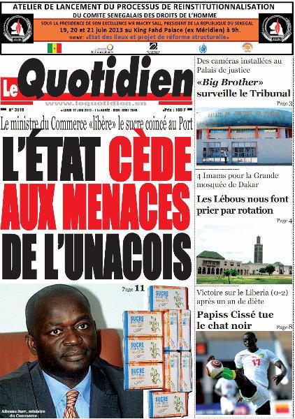 A la Une du Journal Le Quotidien du lundi 17 juin 2013