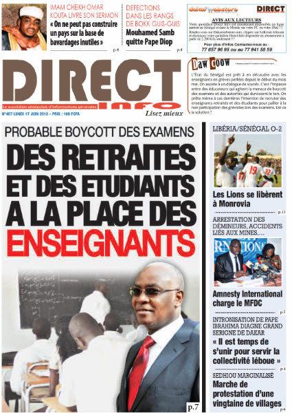 A la Une du Journal Direct Info du lundi 17 juin 2013