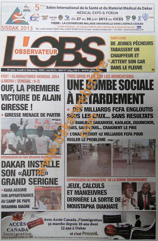 A la Une du Journal L'Observateur du lundi 17 juin 2013